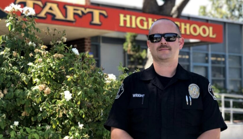 Officer Glen Wright of Taft helped save a person who was threatening to jump off a roof.