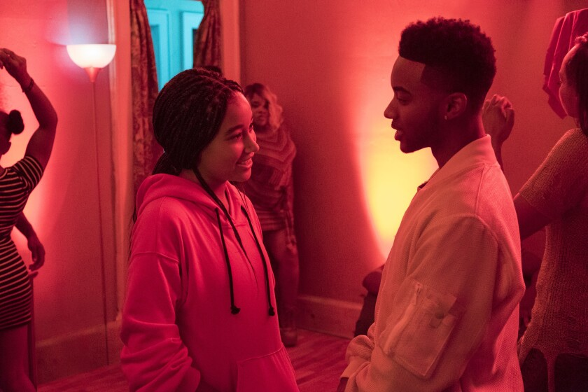 Amandla Stenberg and Algee Smith in Twentieth Century Fox's THE HATE U GIVE.