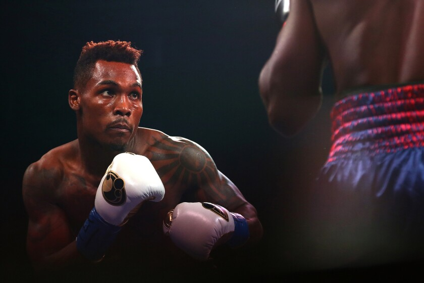 Jermell Charlo looks for an opening during a fight against Wilky Campfort on Nov. 28, 2015.