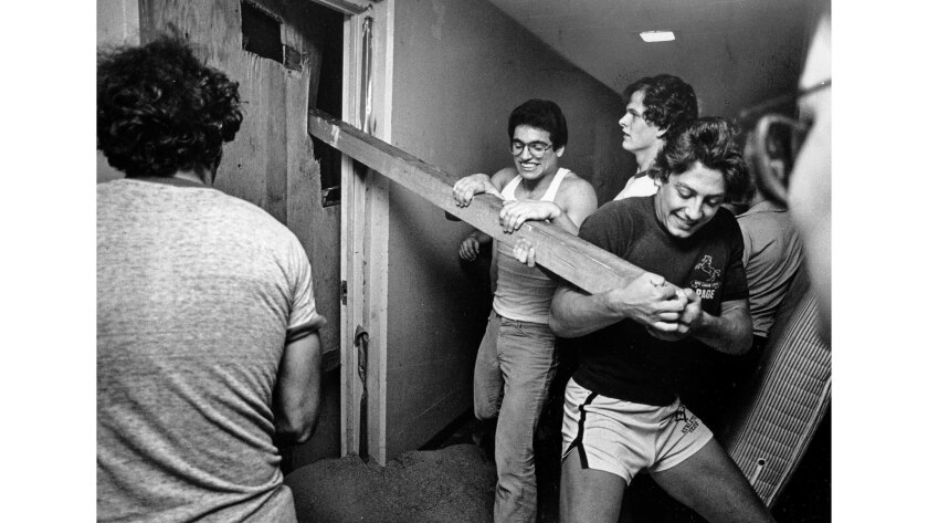 May 18, 1979: During the annual Ditch Day challenge at Caltech, underclassmen force open a senior's door, reinforced with steel, concrete and sand.