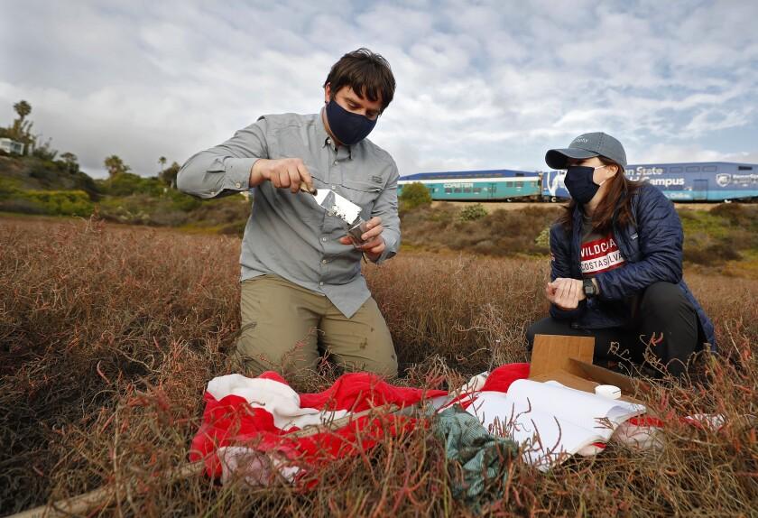 Scripps researcher Matt Costa, and Lisa Gilfillan of WildCoast collect samples in San Dieguito Lagoon.