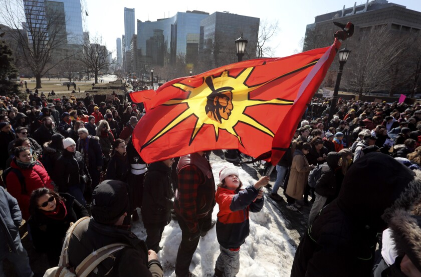 Thousands took to the streets of Toronto on Feb. 22 to protest a gas pipeline in British Columbia