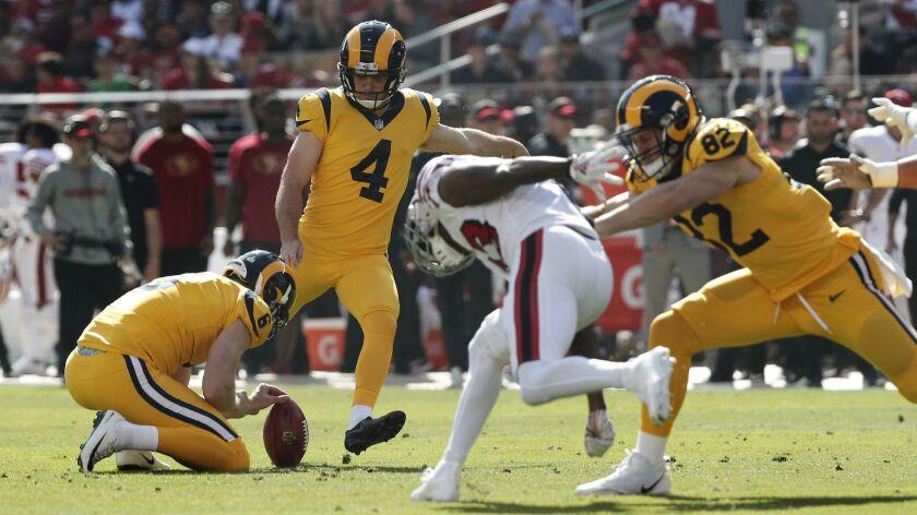 Rams kicker Greg Zuerlein kicks one of his three field goals during the Rams' 39-10 win over the San Francisco 49ers at Levi's Stadium on Sunday in Santa Clara.