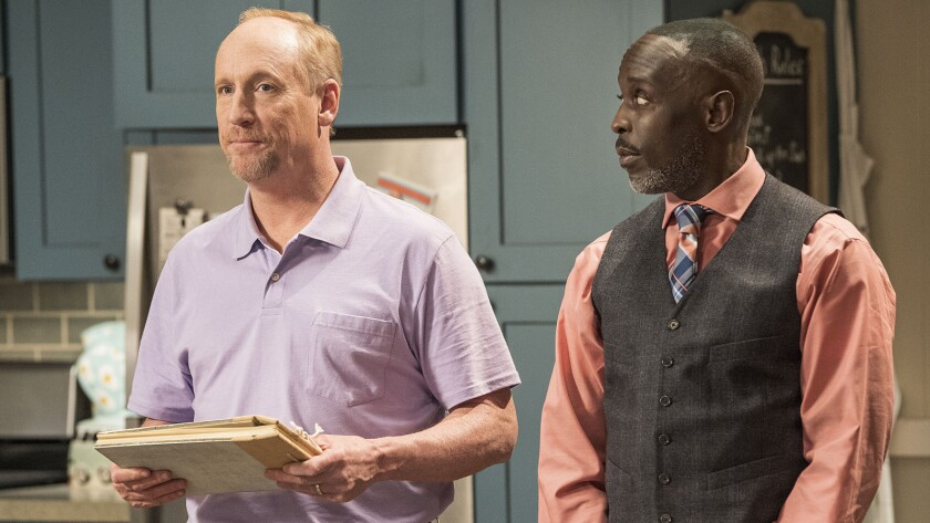 """Matt Walsh, left, and Michael Kenneth Williams guest star in the season finale of """"The Guest Book"""" on TBS."""