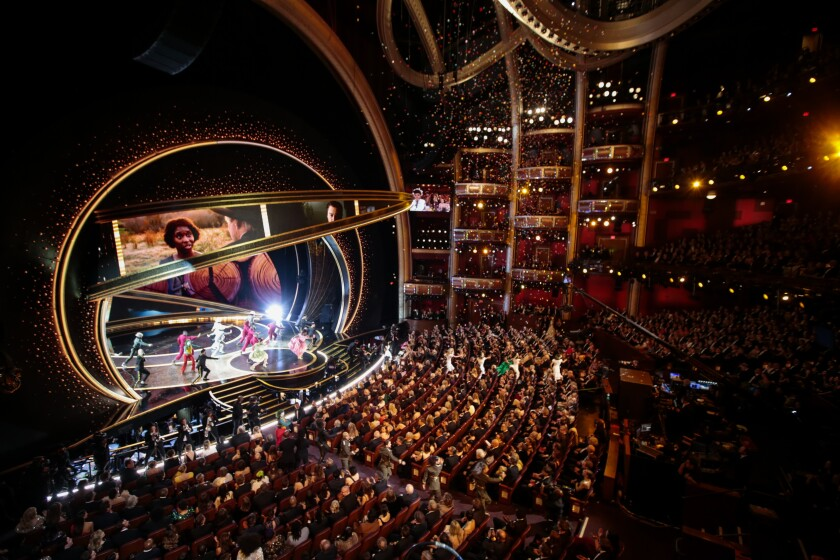 A view from above the audience of the Oscars, looking toward the Dolby Theatre stage.