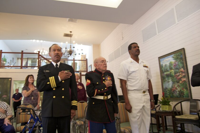 Reg Webster, USN (Ret), Clift Laperruque, Marine Corps WWII veteran, and Eddie Trotter, USN (Ret)