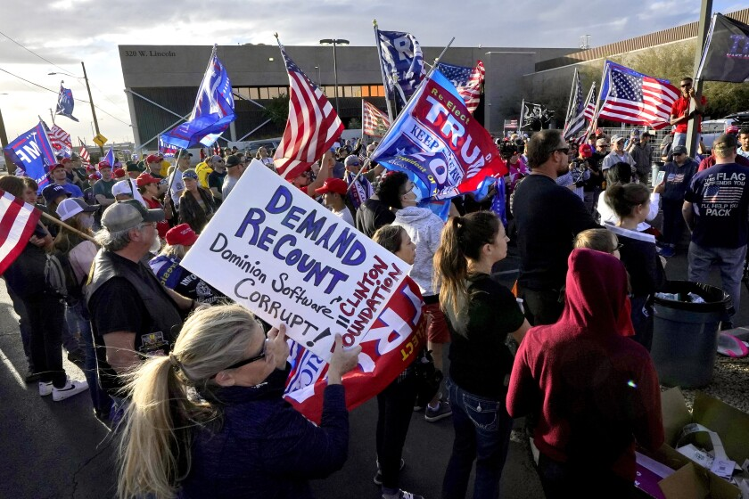 Trump supporters protest for an Arizona recount after the 2020 election.