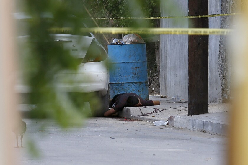 The body of a homicide victim in Los Cabos, Mexico, in 2017.