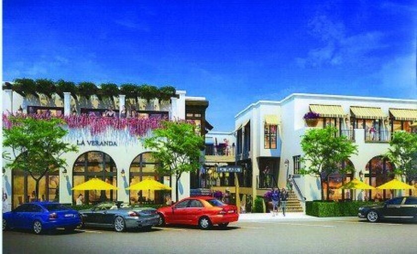Artist rendering of the Moroccan-themed Plaza La Jolla shopping center going in at the corner of Wall Street and Girard Avenue, as it would appear along Wall Street. The property owners hope to begin building renovations this month. Courtesy