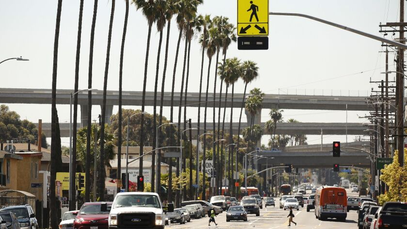 LOS ANGELES, CA - APRIL 17, 2019 - The Figueroa Corridor between 110th and 92nd that features severa