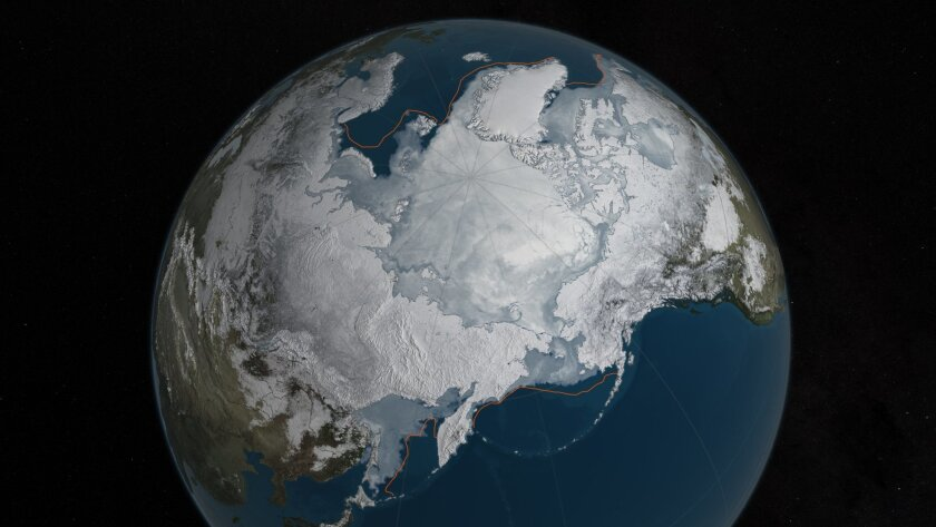 This image provided by NASA shows Arctic sea ice at it maximum, the lowest on record. The winter maximum level of Arctic sea ice shrank to the smallest on record, thanks to extraordinarily warm temperatures, federal scientists said. The National Snow and Ice Data Center says sea ice spread to a maximum of 5.607 million square miles in 2016. That's 5,000 square miles less than the old record set in 2015, a difference slightly smaller than the state of Connecticut. NASA via AP)