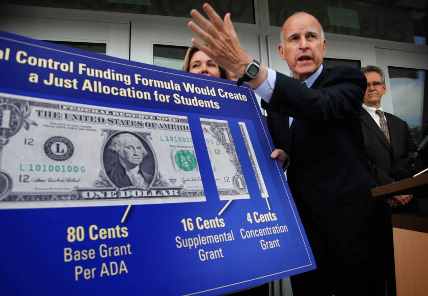 An L.A. coalition is set to rally and submit petitions Tuesday urging that needy students receive 80% of new dollars under the state's local school funding system. The new system, proposed by Gov. Jerry Brown and passed by the Legislature last year, will give districts extra dollars for students who are learning English, in foster care or from low-income families.