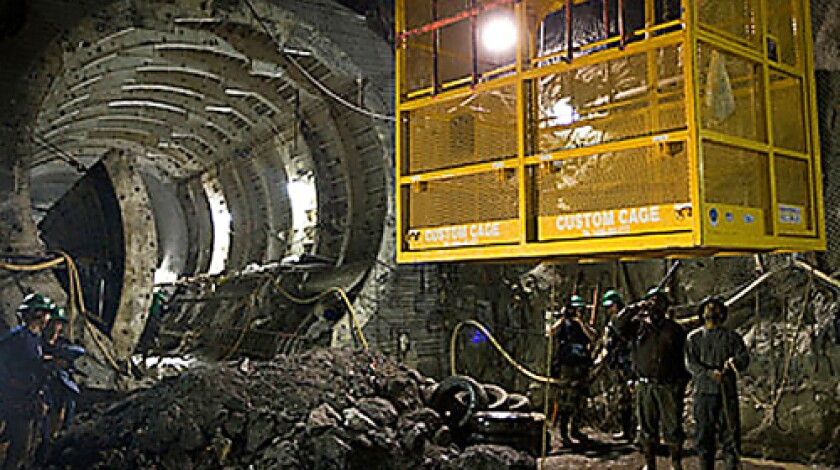 GOING DEEP: A crew at work on Water Tunnel No. 3
