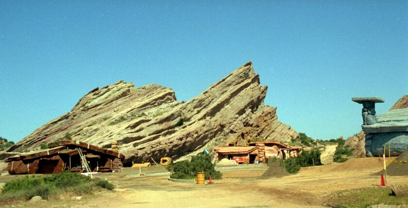 """For the 1994 live-action movie """"The Flintstones,"""" Vasquez Rocks was transformed into the fictional Stone Age town of Bedrock."""