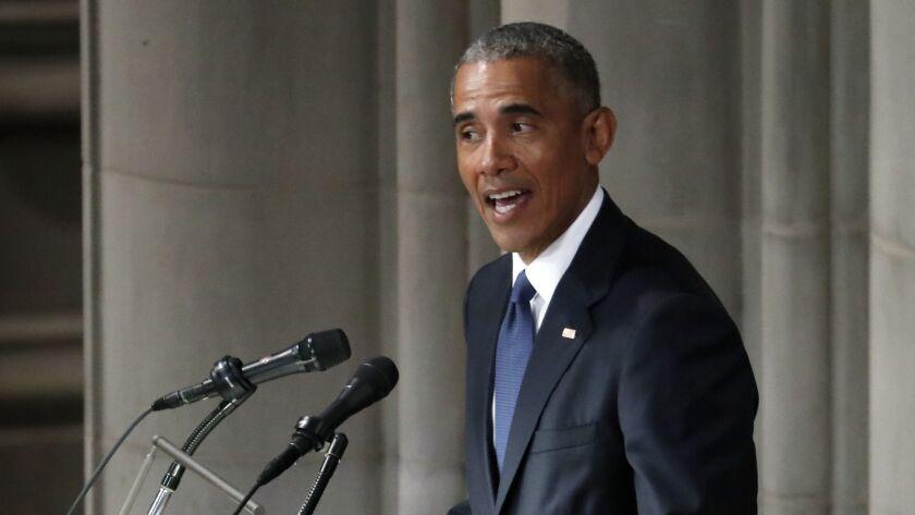 Former President Barack Obama speaks at a memorial service for Sen. John McCain, R-Ariz., at Washing