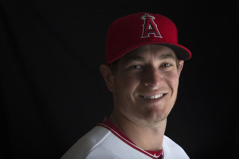 Angels right-handed pitcher Garrett Richards poses for a photoshoot during spring training.