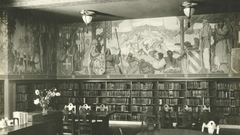 """A.W. Parsons' murals in the Children's Room, now the International Languages Department, as featured in """"Los Angeles Central Library: A History of Its Art and Architecture"""" by Arnold Schwartzman and Stephen Gee."""