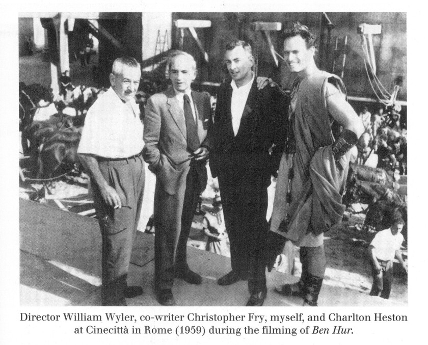 Director William Wyler, co-writer Christopher Fry, Gore Vidal and Charlton Heston at Cinecitta in Rome during the filming of Ben-Hur in 1959.