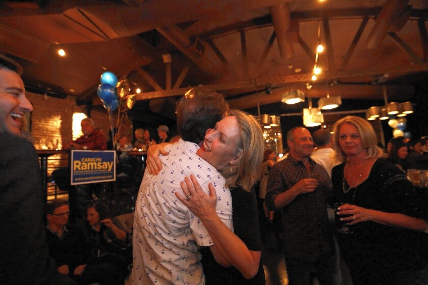 City Council candidate Carolyn Ramsay, right, gets a hug from her son at an election night party in May.