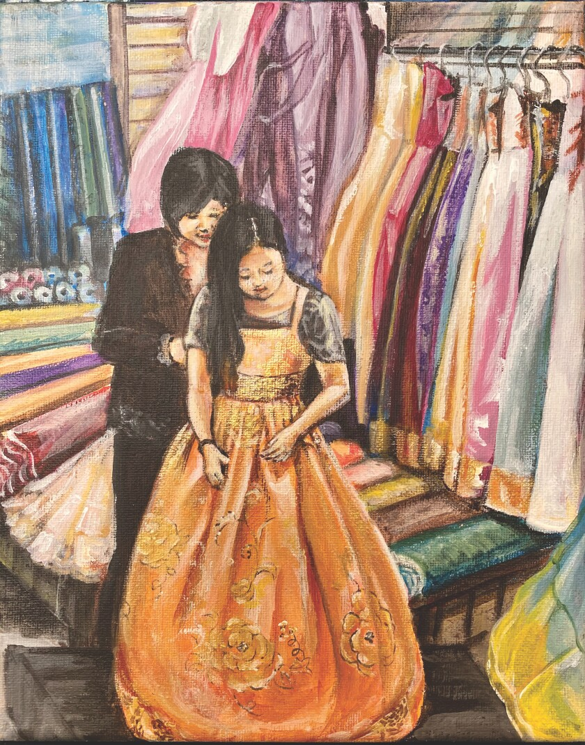 """An illustration from """"The Girl in the Gold Dress"""""""