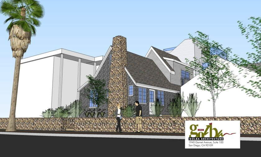 Rendering of compromise design plans that would preserve the street-facing cottage on Playa del Sur (considered to be of greater historic significance), while allowing the property owners to demolish the rear cottage and build a more modern structure there. Courtesy