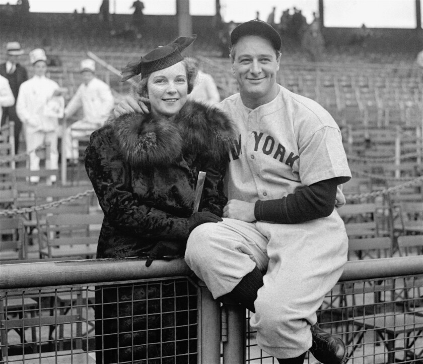 New York Yankees legend Lou Gehrig and his wife, Eleanor, in 1936.