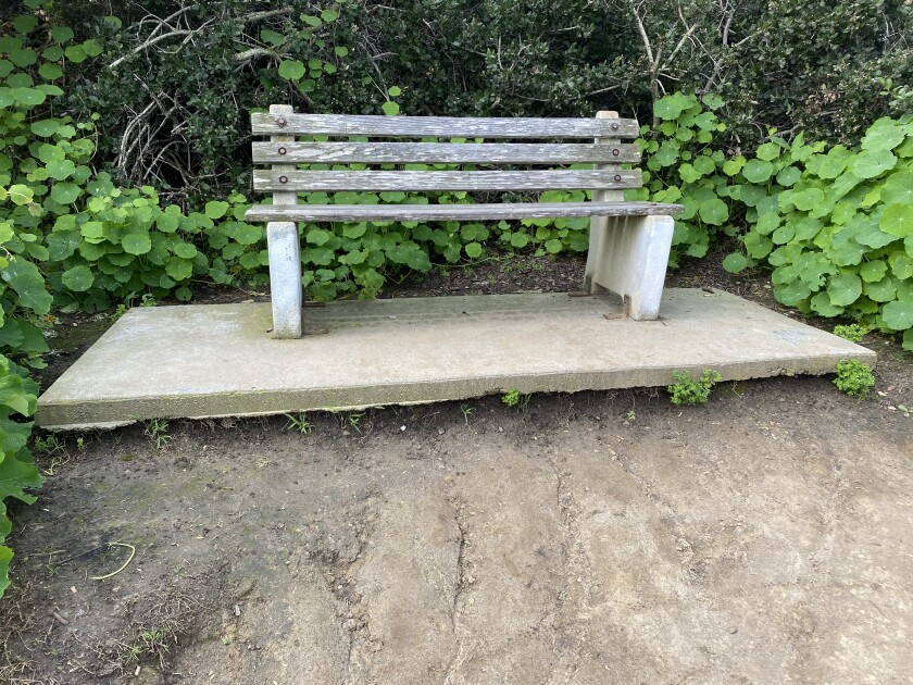 Due to erosion, some benches once installed along Coast Walk Trail in La Jolla now sit 2-feet above it; as pictured in March 2020.