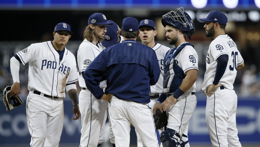 Padres pitching coach Darren Balsley, center, talks to starting pitcher Matt Strahm, second from left, during the first inning of Monday's game against the Diamondbacks.