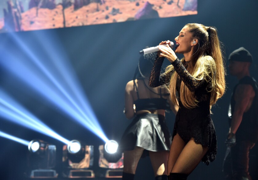 Singer Ariana Grande performs at the iHeartRadio Theater in Burbank.
