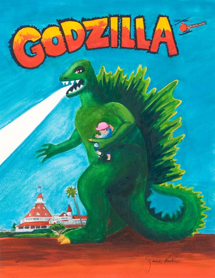 A photo of Godzilla with Baby Jenna at Hotel Del by June Rubin