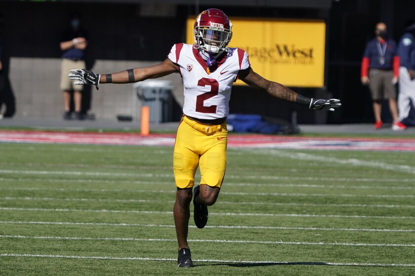 USC wide receiver Munir McClain (2) in the second half during an NCAA college football game.