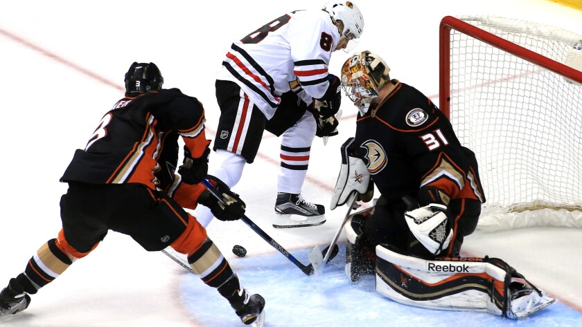 The Duck are likely to be without goalie Frederik Andersen (31) because of illnes when they play Patrick Kane (8) and the Blackhawks on Friday.