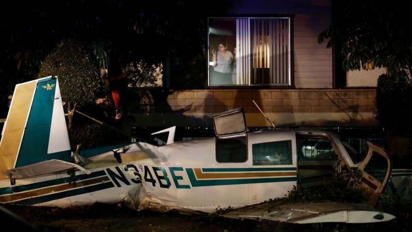 A small plane crashed on a surface street in Glendale on Friday night.