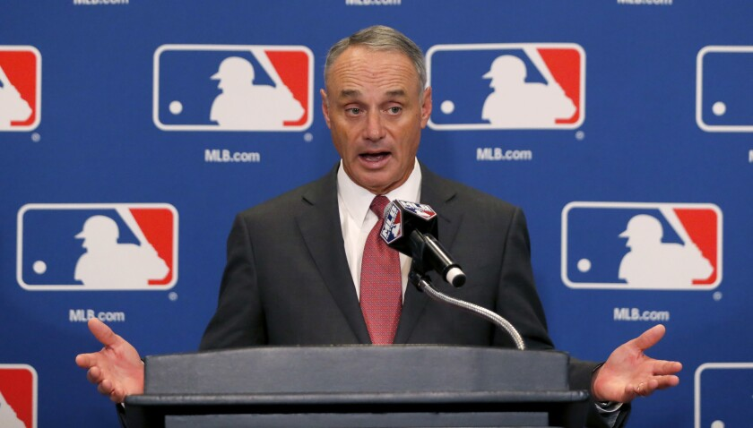 Baseball Commissioner Rob Manfred doesn't see a problem with tank jobs, but MLB attendance fell last season to its lowest level since 2002.