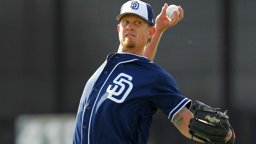 Padres right-hander Jered Weaver throws during a spring training practice.