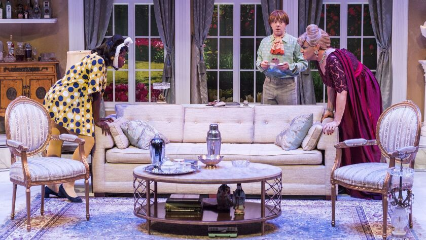 """L-R: Julanne Chidi Hill, Tom DeTrinis and Drew Droege in the Celebration Theatre production of """"Die,"""