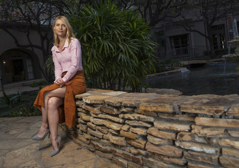 """Claire Danes, star of Showtime's """"Homeland,"""" on the grounds of the Langham Huntington Hotel in Pasadena. The series' eighth and final season premieres Sunday."""