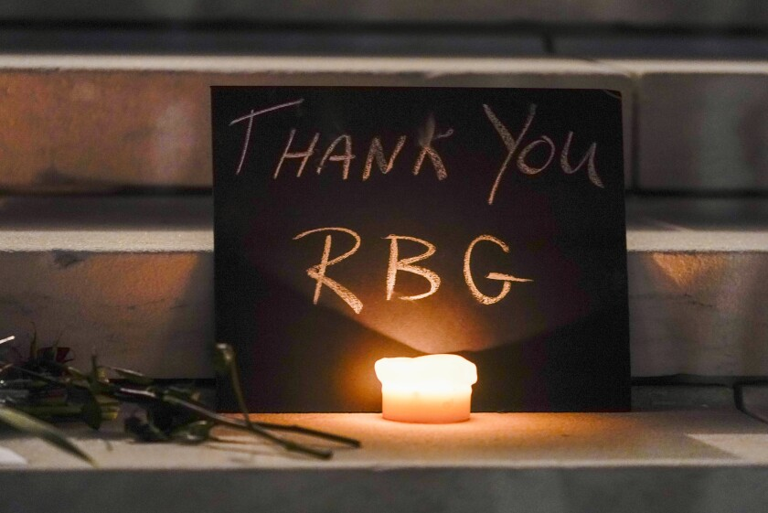 A memorial outside the Supreme Court on Friday after the announcement that Justice Ruth Bader Ginsburg had died at age 87.