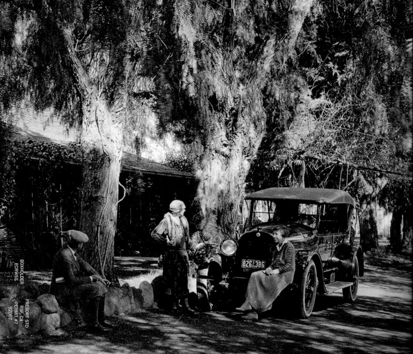 Lilian Rice, seated, in the Rancho Santa Fe village in the 1920's.