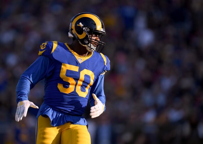 Rams linebacker Samson Ebukam is set to start against the San Francisco 49ers on Sunday.