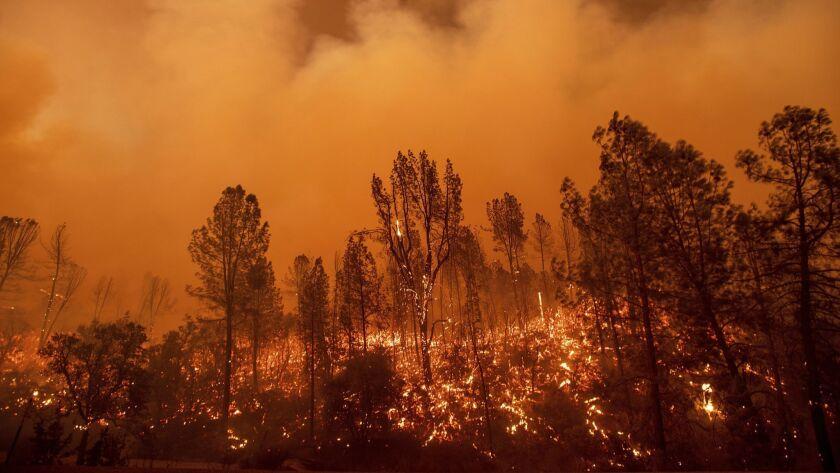 The Carr fire burns along Highway 299 in Redding, Calif., on Thursday.