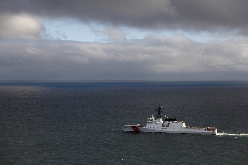 The Coast Guard national security cutter Bertholf patrolled the Arctic seas above Alaska in 2012.