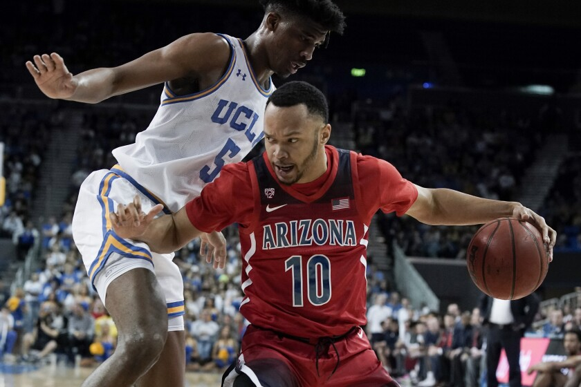 Arizona guard Jemarl Baker (10) is considered a top target by SDSU in the transfer portal.