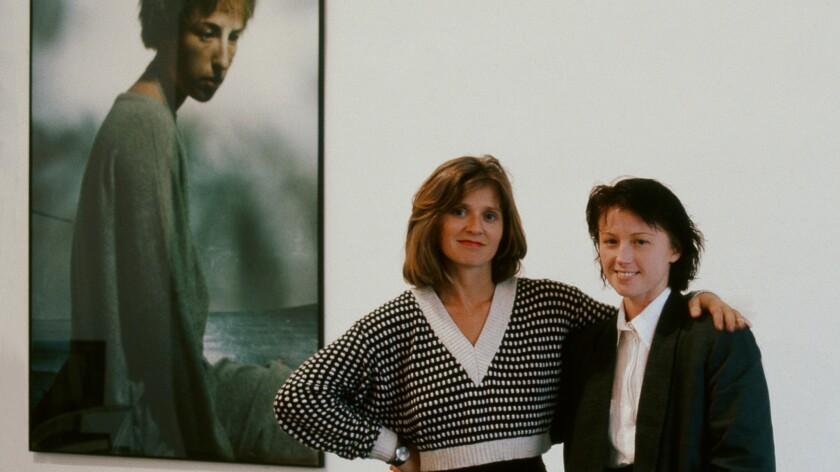 Monika Sprüth and Cindy Sherman at Monika Sprüth Gallery, Cologne, Germany, 1985.