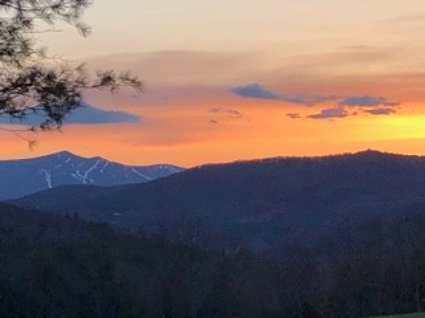 Sunset view of mountain in Vermont