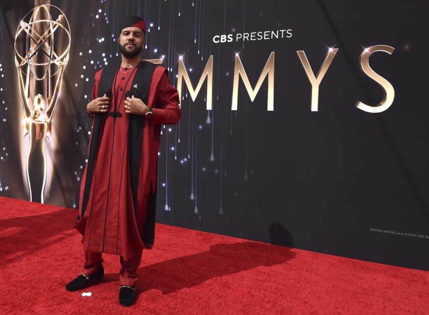 O-T Fagbenle arrives at the 73rd Primetime Emmy Awards on Sunday, Sept. 19, 2021, at L.A. Live in Los Angeles. (AP Photo/Chris Pizzello)