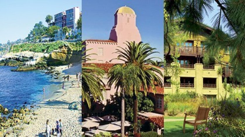 During the 2020 coronavirus pandemic, some La Jolla hotels remain open with reduced amenities, while others have temporarily closed. Pictured from left: La Jolla Cove Suites, La Valencia Hotel and The Lodge at Torrey Pines.