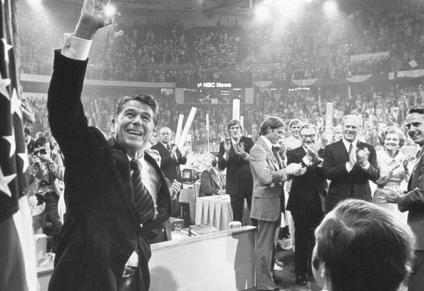 Ronald Reagan at the 1976 Republican National Convention in Kansas City.