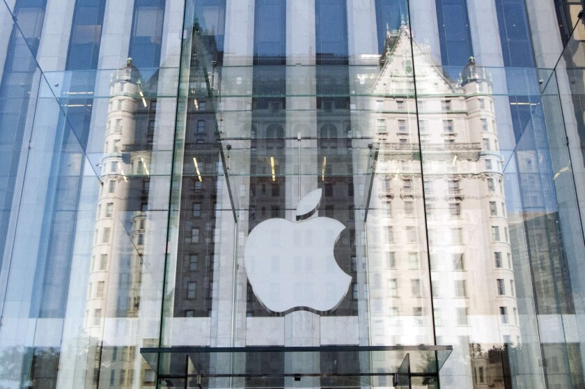 Apple has been granted a patent for a method used to create all-glass shells for electronic devices. Above, an Apple store in New York in 2012.