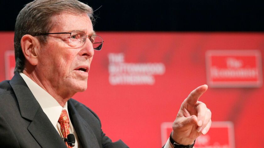Pete Domenici, former senator from New Mexico, speaks in New York on Oct. 26, 2010.